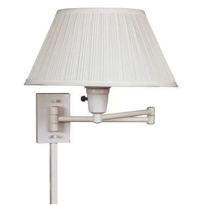 Simplicity 13 in. White Wall Swing Arm Lamp