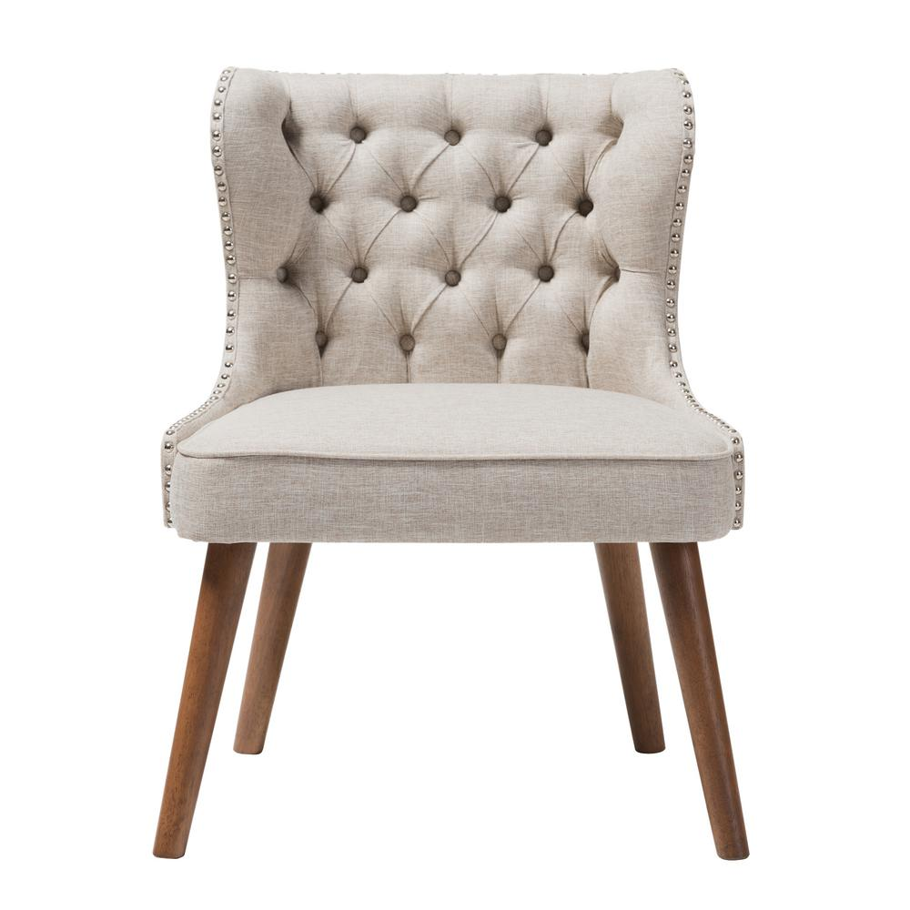 Scarlett Mid-Century Beige Fabric Upholstered Accent Chair