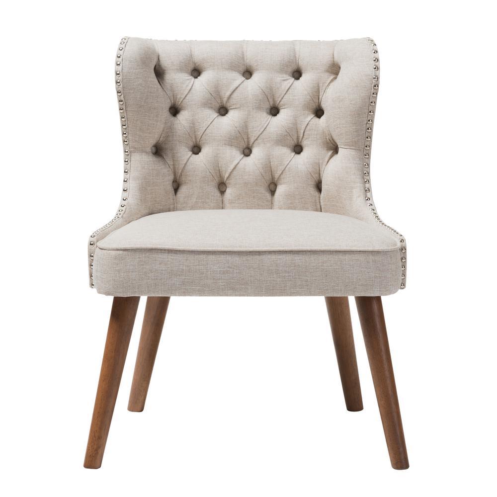 Baxton Studio Scarlett Mid-Century Beige Fabric Upholstered Accent Chair