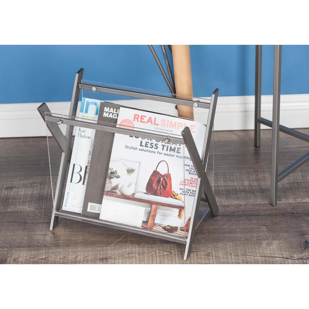 X frame silver finished iron and clear acrylic magazine holder x frame silver finished iron and clear acrylic magazine holder 84393 the home depot jeuxipadfo Images