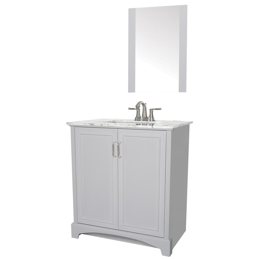 Sheffield Home Madison 30 in. W x 19 in. D Bath Vanity in Gray with Engineered Stone Vanity Top in Gray with White Basin and Mirror