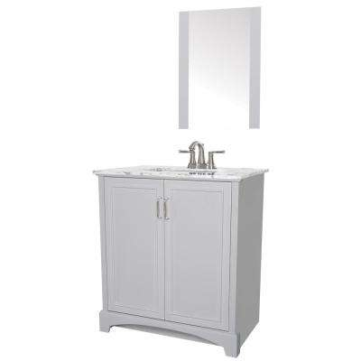 Madison 30 in. W x 19 in. D Bath Vanity in Gray with Engineered Stone Vanity Top in Gray with White Basin and Mirror