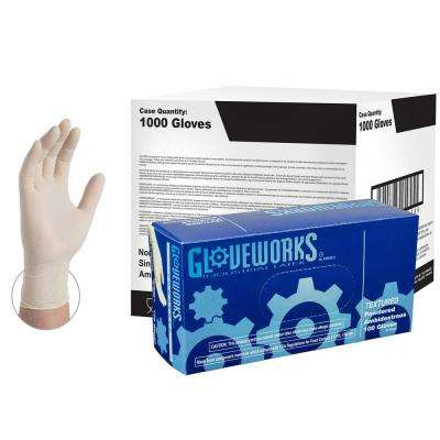 Ivory Latex Industrial Powdered Disposable Gloves (10-Boxes of 100-Count) - XLarge