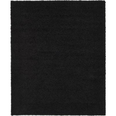 Solid Shag Jet Black 8 ft. x 10 ft. Area Rug