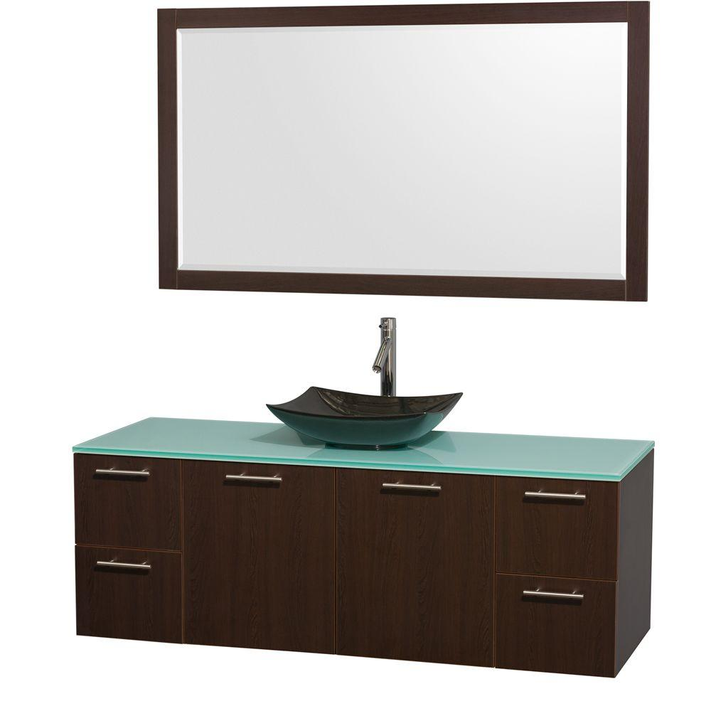 Wyndham Collection Amare 60 in. Vanity in Espresso with Glass Vanity Top in Green, Granite Sink and 58 in. Mirror