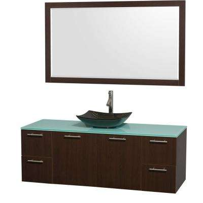 Amare 60 in. Vanity in Espresso with Glass Vanity Top in Green, Granite Sink and 58 in. Mirror