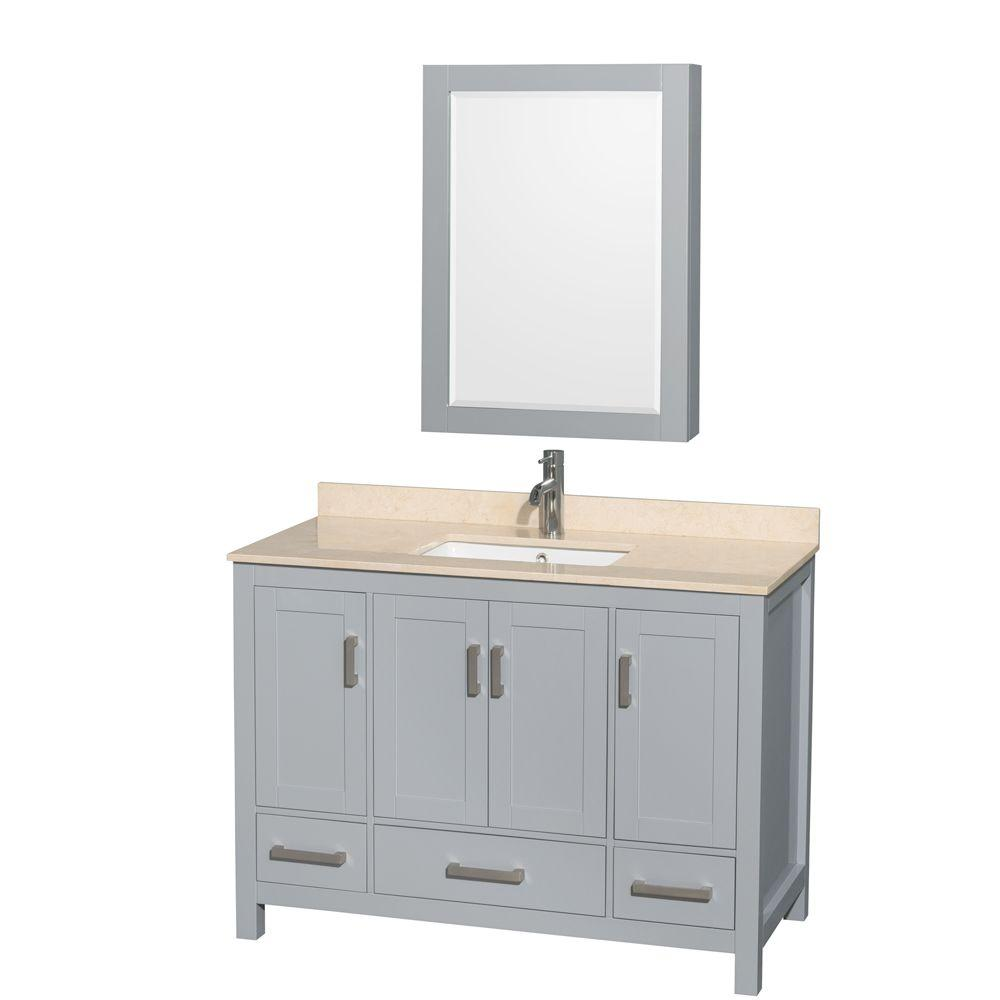 Wyndham Collection Sheffield 48 In W X 22 D Vanity Gray With