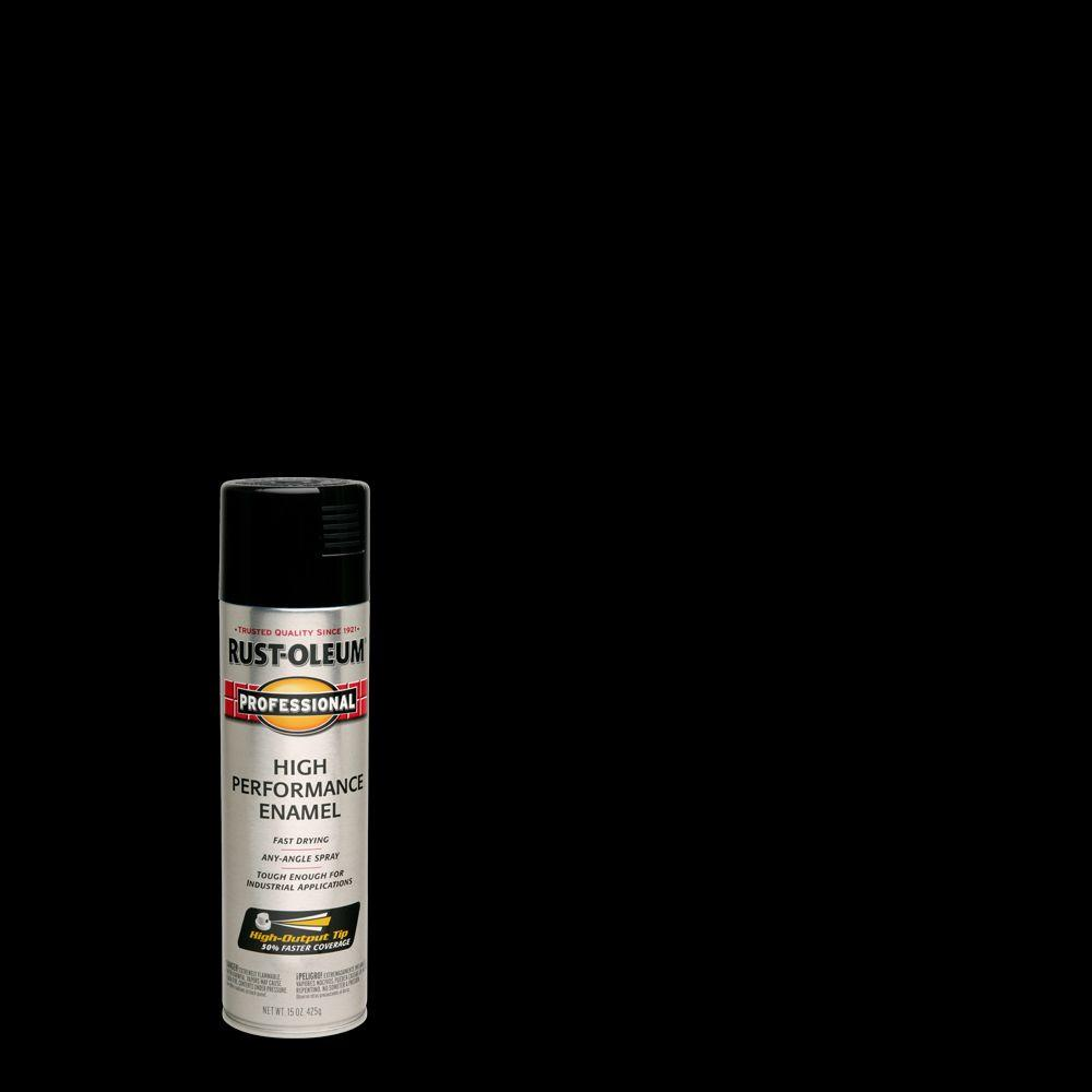 Rust-Oleum Professional 15 oz  High Performance Enamel Gloss Black Spray  Paint