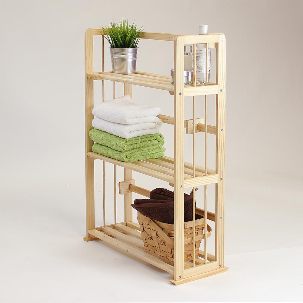 Furinno Pine Natural Color 3-Shelf Solid Wood Open Bookcase FNCL-33001