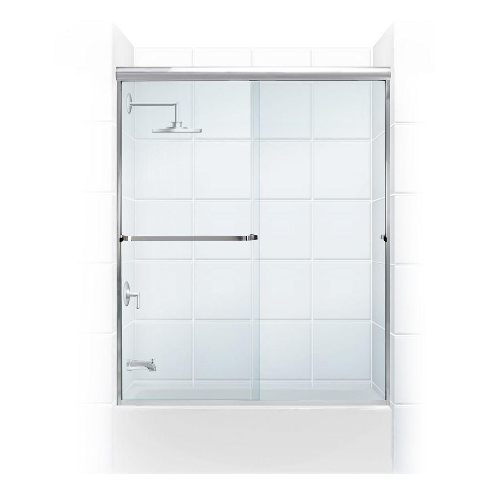 Coastal Shower Doors Paragon 3/16 B Series 64 in. x 57 in. Semi-Framed Sliding Tub Door with Towel Bar in Chrome and Clear Glass