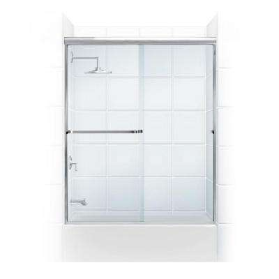 Paragon 3/16 B Series 64 in. x 57 in. Semi-Framed Sliding Tub Door with Towel Bar in Chrome and Clear Glass