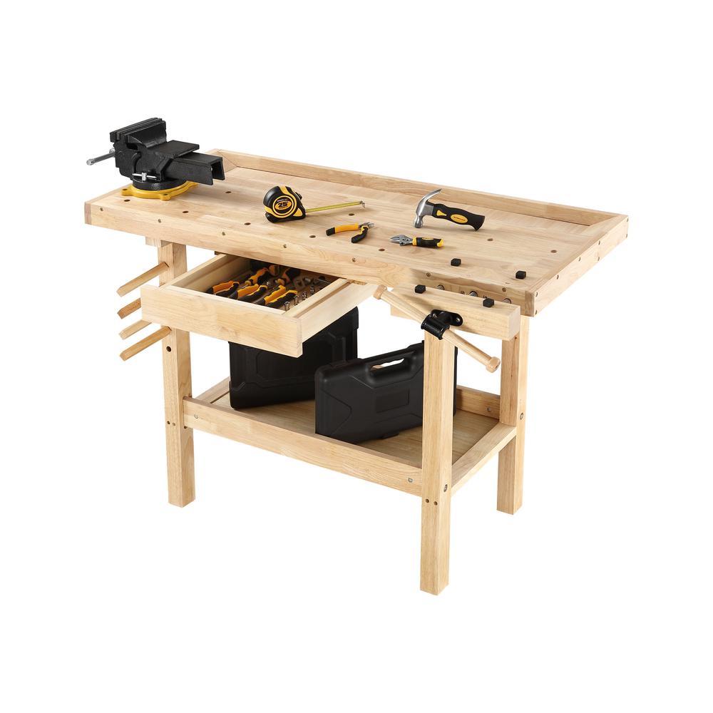 Hardwood Workbench Wooden Bench Vise Table Top Storage Shelf Adjustable 4 X 2 Ft Ebay