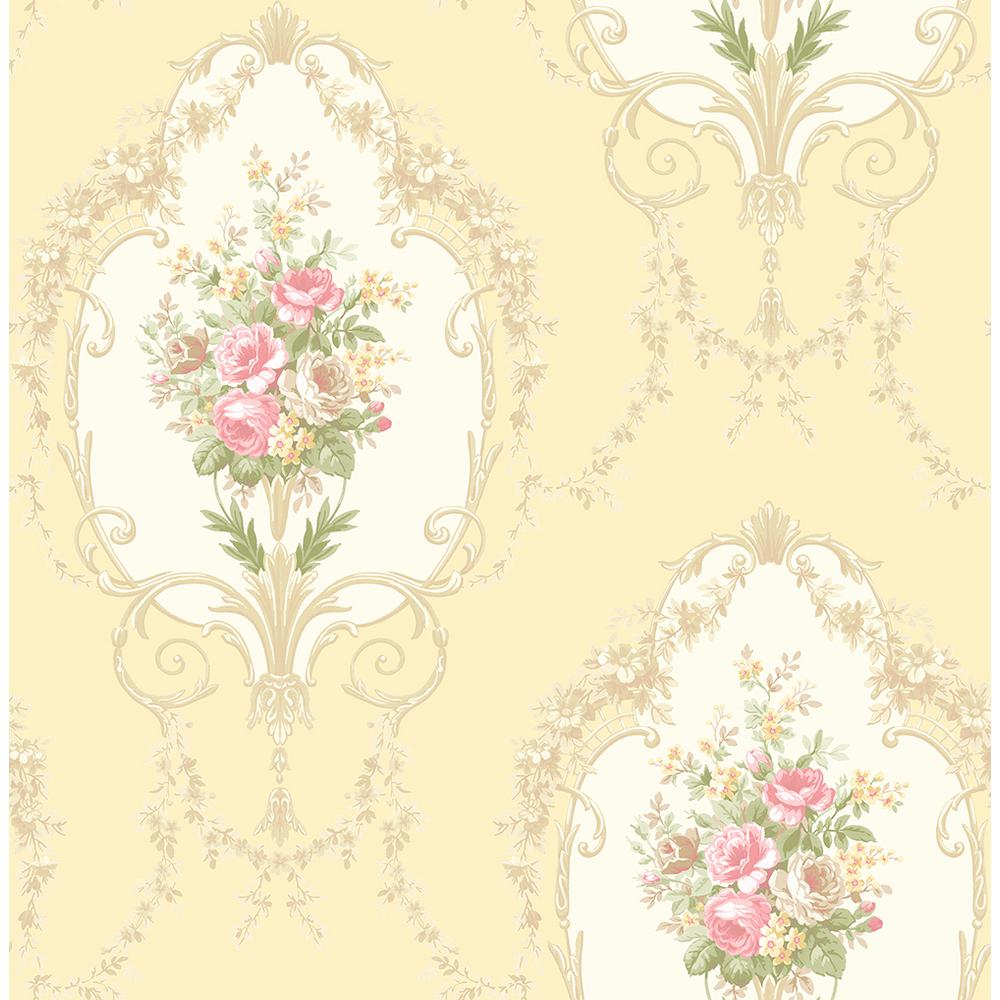 56 4 Sq Ft Liana Yellow Cameo Wallpaper 2900 23248 The Home Depot