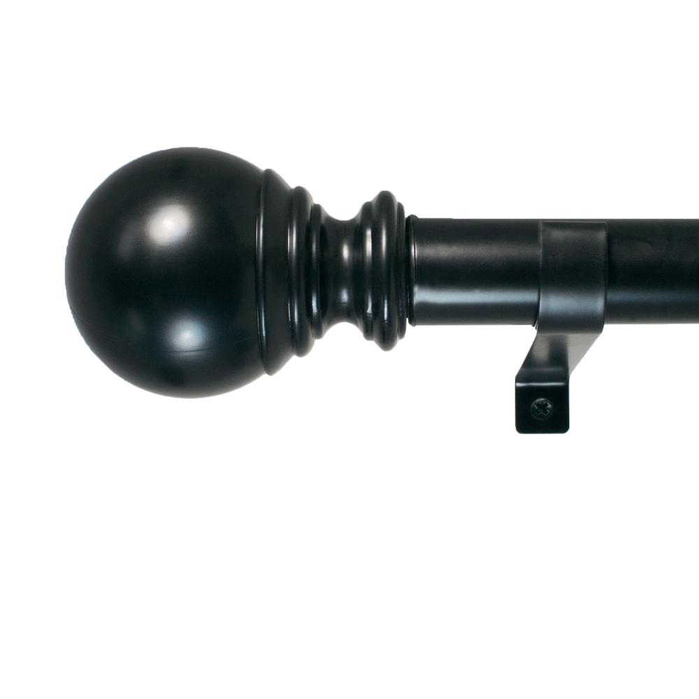 Decopolitan 18 in. - 36 in. Ball Telescoping 1 in. Dia Single Rod Set in Black
