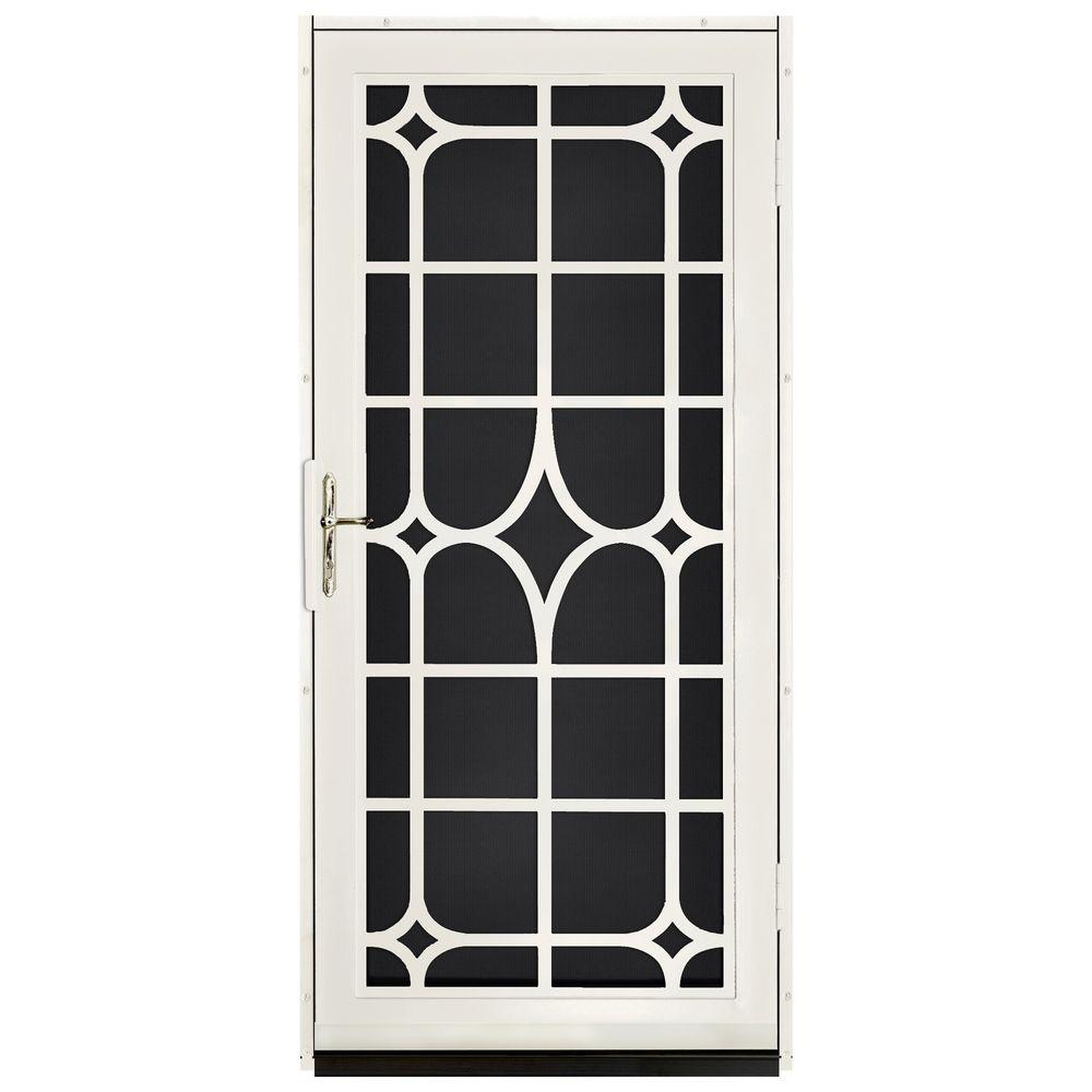 Unique Home Designs 36 in. x 80 in. Lexington Almond Surface Mount Steel Security Door with Black Perforated Screen and Brass Hardware
