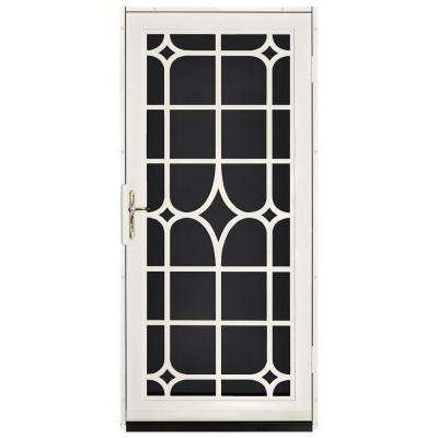36 in. x 80 in. Lexington Almond Surface Mount Steel Security Door with Black Perforated Screen and Brass Hardware