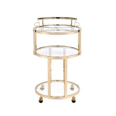 Madelina Gold and Clear Glass Serving Cart