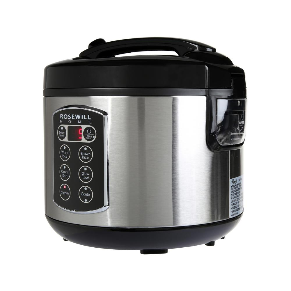 Rosewill 12 Cup Cooked 6 Cup Uncooked Digital Rice Cooker And Food Steamer With Stainless Steel