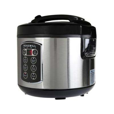12-Cup Cooked 6-Cup Uncooked Digital Rice Cooker and Food Steamer with Stainless Steel Exterior RHRC-17001