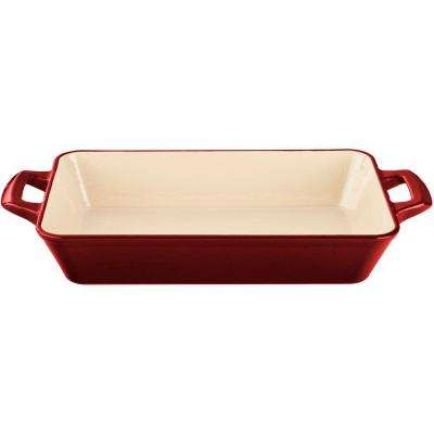 Small Deep Cast Iron Roasting Pan with Enamel Finish in Red