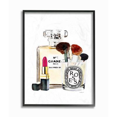 """Stupell Industries """"Fashion Designer Makeup Perfume Lipstick Watercolor""""by Amanda Greenwood Framed Abstract Wall..."""