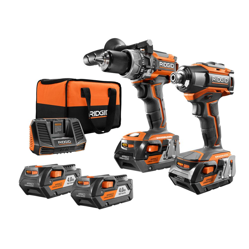 Ridgid 18-Volt Brushless 2-Tool Hammer Drill and Impact D...