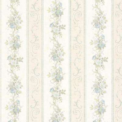 Lorelai Light Blue Floral Stripe Wallpaper