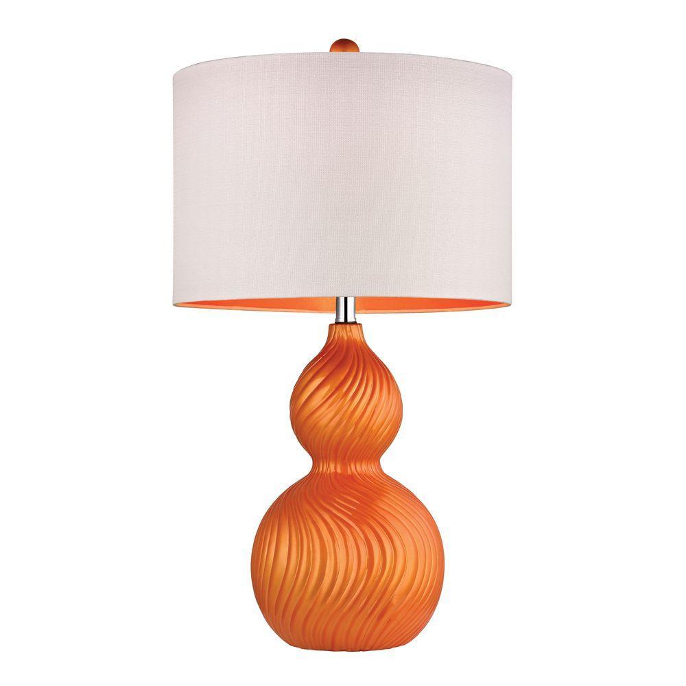 Carluke 26 in. Tangerine Orange Ceramic Table Lamp