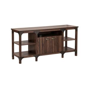 Logan 63 in. Walnut and Brown Wood TV Stand Fits TVs Up to 65 in. with Storage Doors