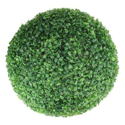 19 in. Artificial 2-Tone Green Boxwood Topiary Garden Ball