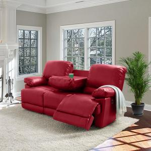 CorLiving Plush Power Reclining Red Bonded Leather Sofa with ...
