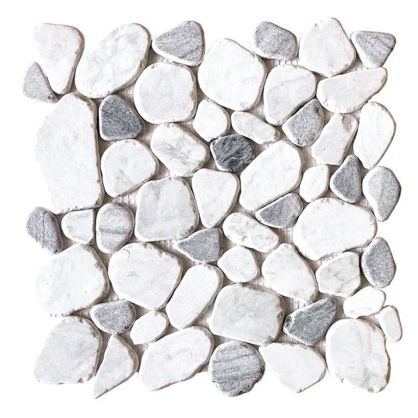 Waterfront White Pebble 11.125 in. x 11.125 in. Honed Marble Wall and Floor Mosaic Tile (0.859 sq. ft./Each)