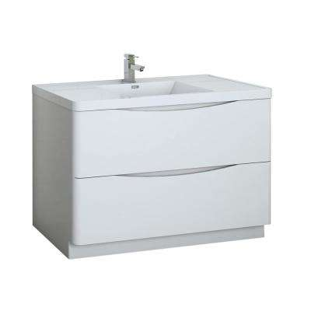 Tuscany 48 in. Modern Bath Vanity in Glossy White with Vanity Top in White with White Basin