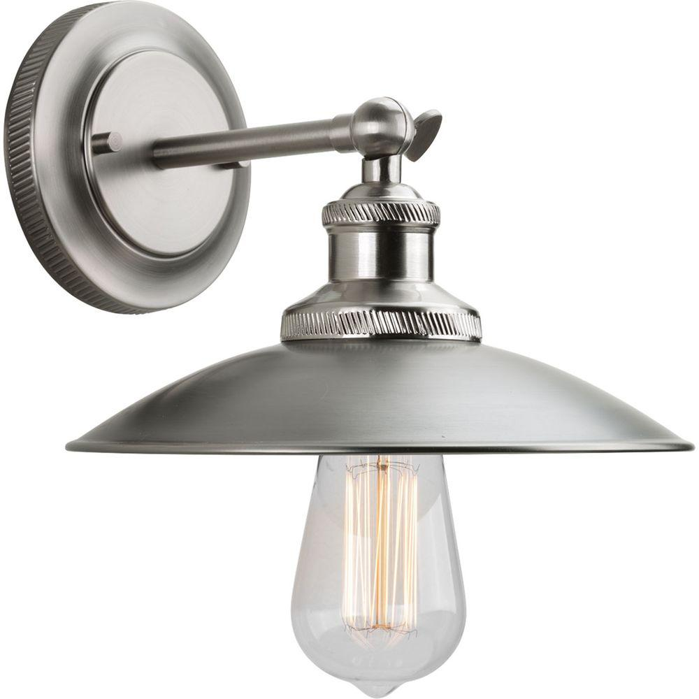 Progress Lighting Archives Collection 1 Light Antique Nickel Wall Sconce With Metal Shade P7156 81