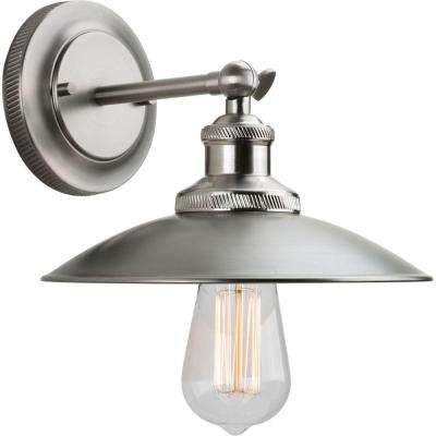 Archives Collection 1-Light Antique Nickel Wall Sconce with Metal Shade