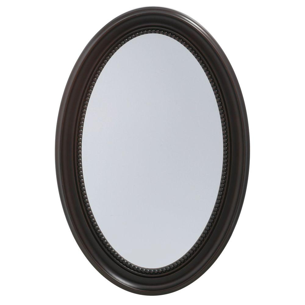 Pegasus 20 in. W x 30 in. H Recessed or Surface-Mount Oval Bathroom Medicine Cabinet with Deco Framed Door in Oil Rubbed Bronze