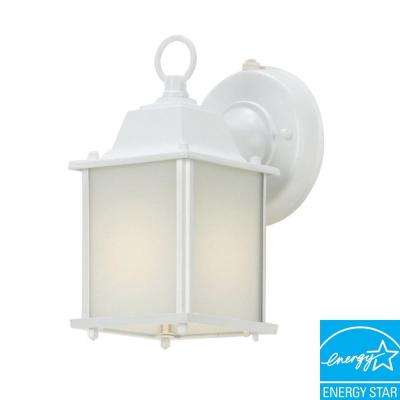 Wall Mount White Outdoor Cube Lantern Light