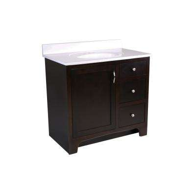 36 in. x 21 in. x 33-1/2 in. 2-Door 2-Drawer Vanity with Solid White Cultured Marble Vanity Top