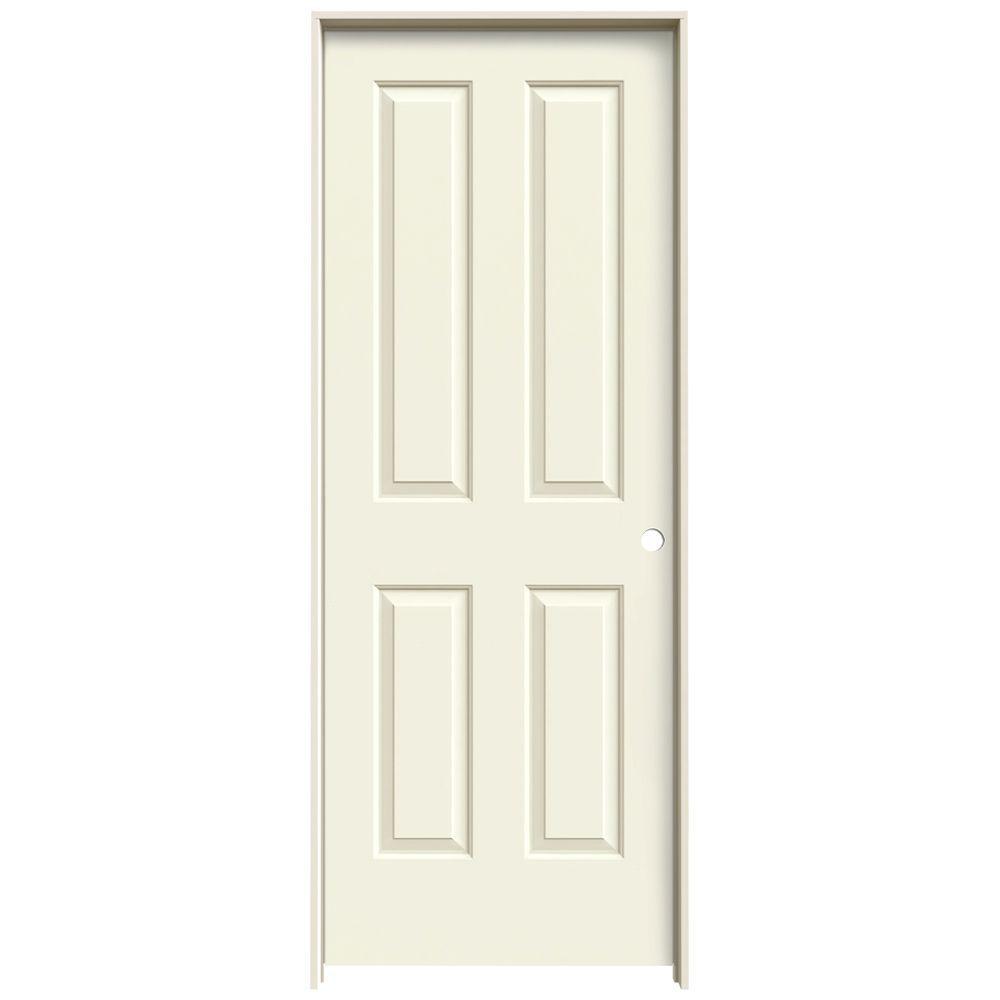 JELD-WEN 28 in. x 80 in. Coventry Vanilla Painted Left-Hand Smooth Molded Composite MDF Single Prehung Interior Door