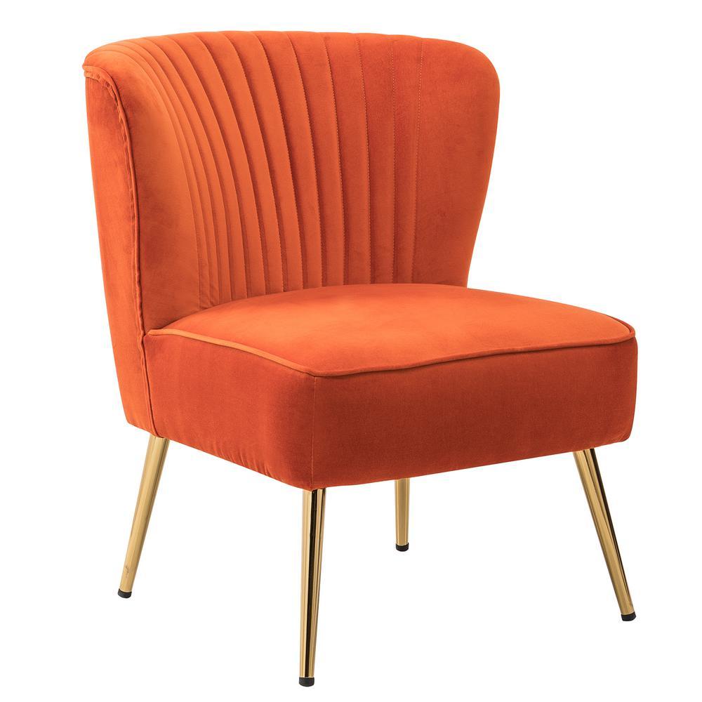 Monica Orange GoLd Legs Velvet Side Chair