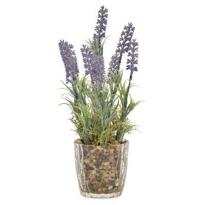 11.5 in. Faux Lavender in Flower Pot in Purple