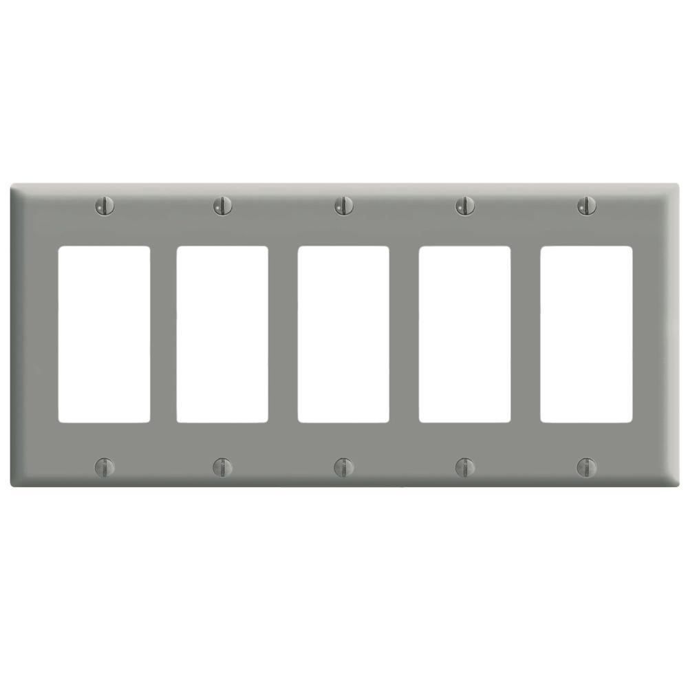 Leviton 5 Gang Decora Wall Plate Gray