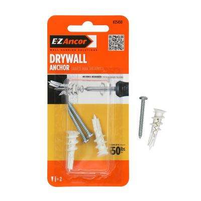 Twist-N-Lock 50 lbs. #6 x 1-1/4 in. Philips Zinc-Plated Nylon Flat-Head Drywall Anchors with Screws (2-Pack)