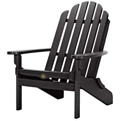 DuraWood Folding Adirondack Chair in Black