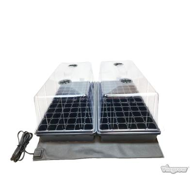 11 in. x 22 in. Tall Clear Plastic Dome Dual Tray Kit with 2 Domes, 2 Std. Flats (2) 72 Cell Inserts and Dual Heat Mat
