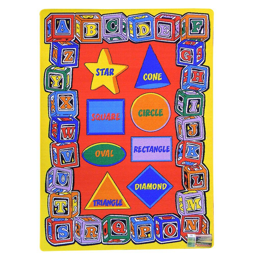 Paradise-Alphabets Blocks and Shapes Design Red 4 ft. 11.75 in. x