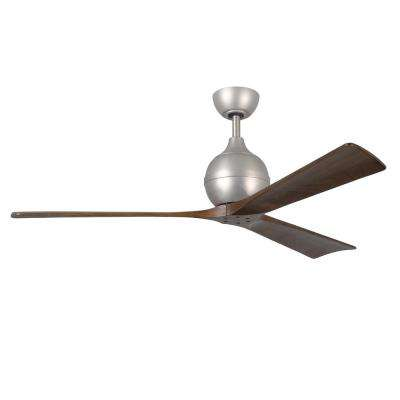 Irene 60 in. Indoor/Outdoor Brushed Nickel Ceiling Fan with Remote Control and Wall Control