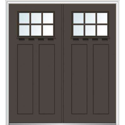 64 in. x 80 in. Shaker Right-Hand Inswing 6-Lite Clear Low-E Painted Fiberglass Smooth Prehung Front Door with Shelf