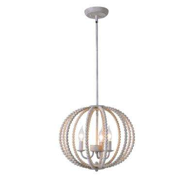 Stanley 3 Light Weathered White Chandelier