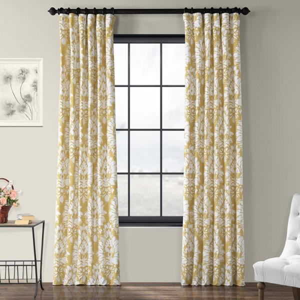 Lacuna Sun Yellow Room Darkening Printed Cotton Twill Curtain - 50 in. W x 120 in. L
